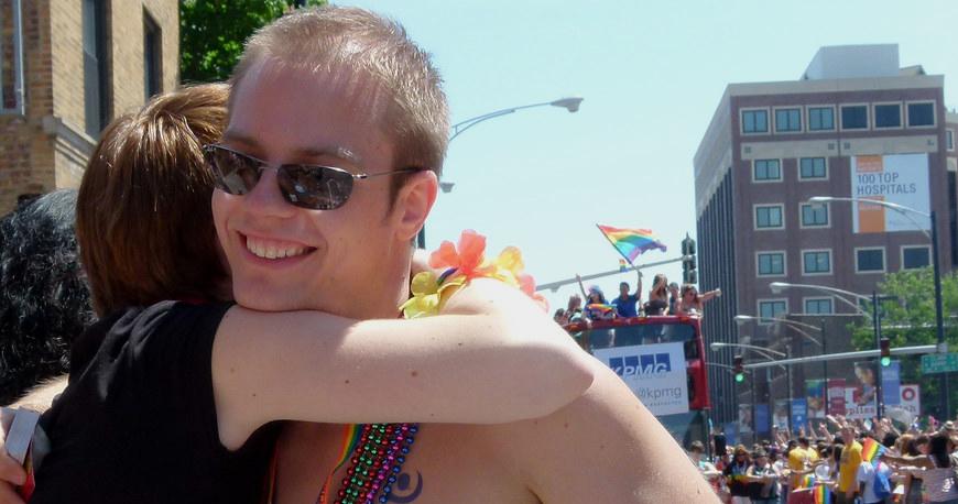 Hug at Chicago Pride Parade